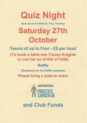 - Quiz Night in Aid of Prostate Cancer + Club Funds